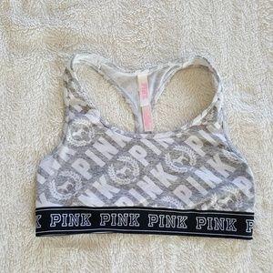 Victorias Secret Pink Small Sports Bra Gray White